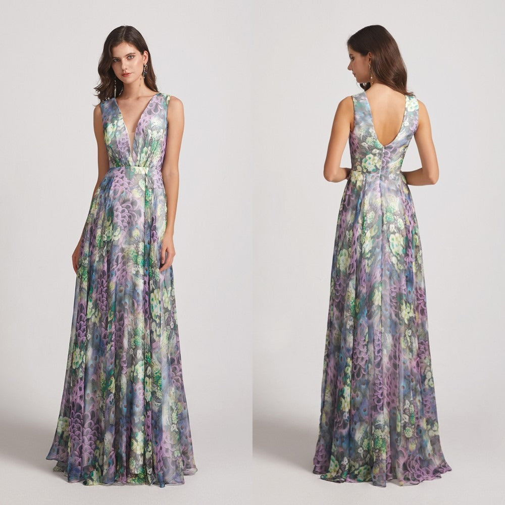 Peacock Floral-Printed Bridesmaid Dresses with Double V-Neck (AF0117)