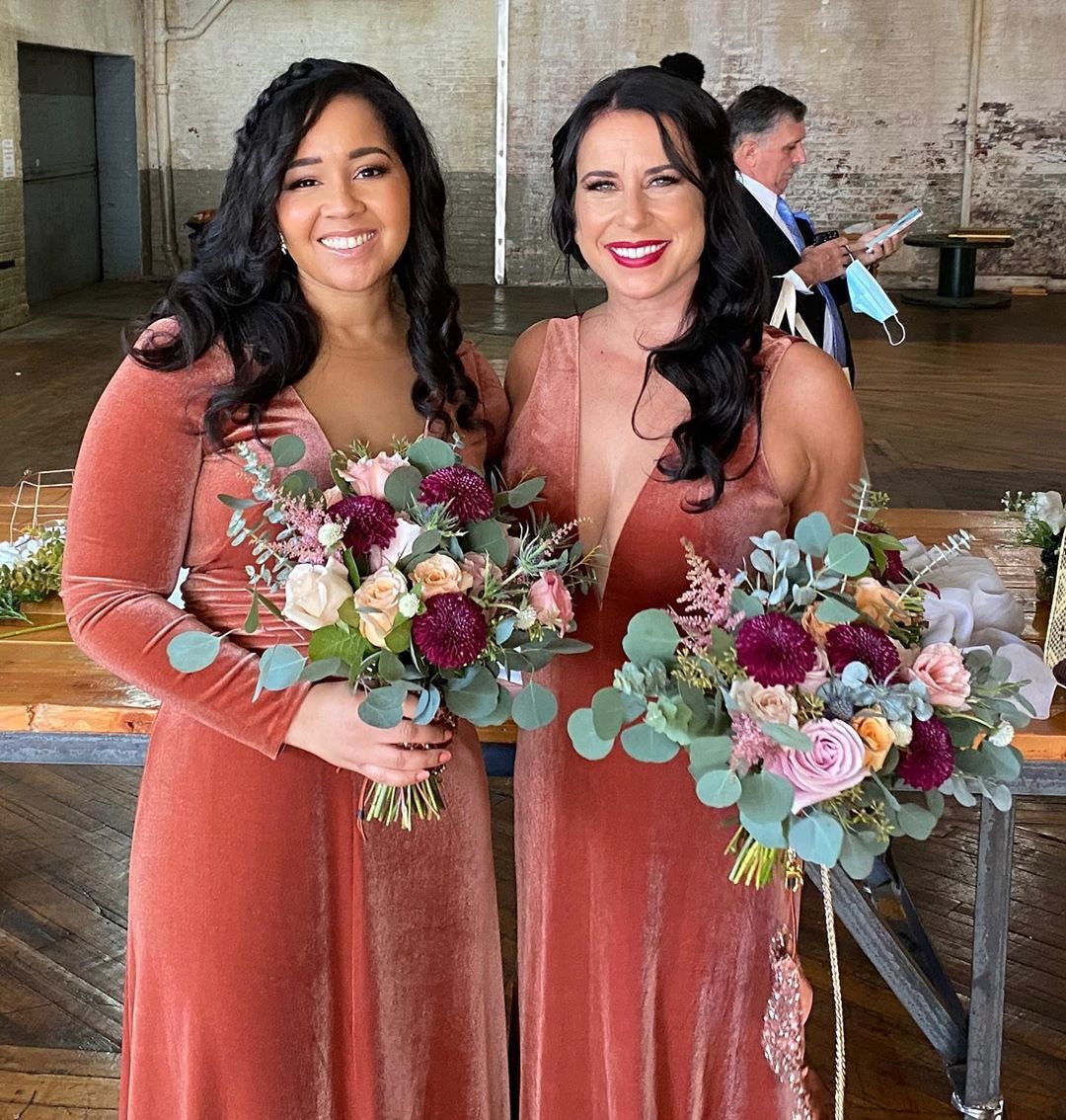 Bold Velvet Bridesmaid Dress With Daring Deep V Neck (AF0133) and Long Sleeve Velvet Bridesmaid Dresses with Illusion V-neck (AF0127) in Cinnamon_Rose