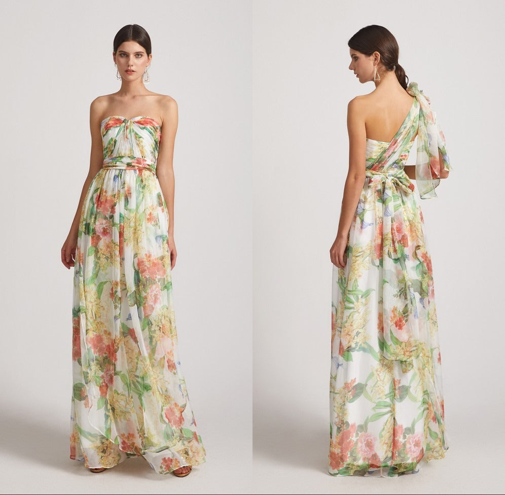 Floral Convertible Bridesmaid Dresses with Strapless Sweetheart (AF0131)