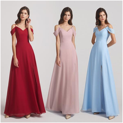 different color same style bridesmaid dresses