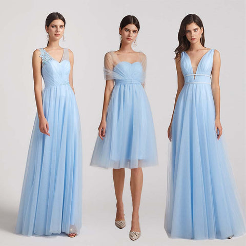 sky blue tulle bridesmaid dresses