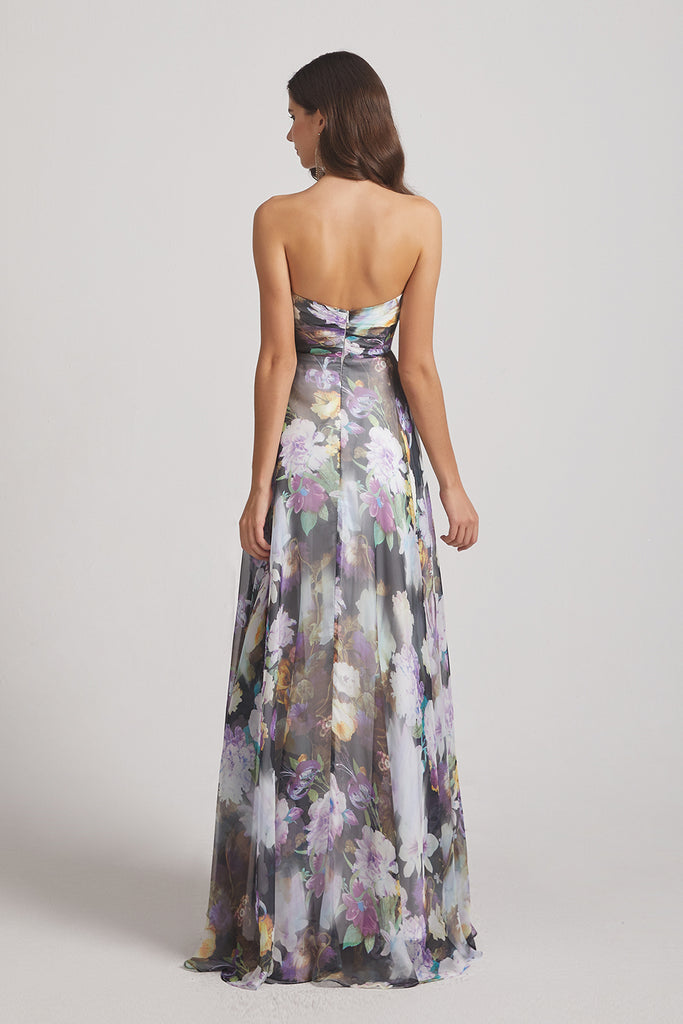 floral backless bridesmaids dresses
