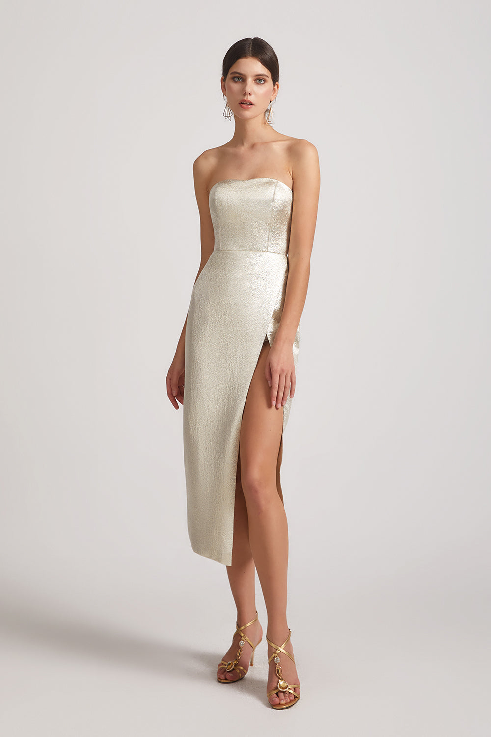 champagne strapless sheath bridesmaid dresses