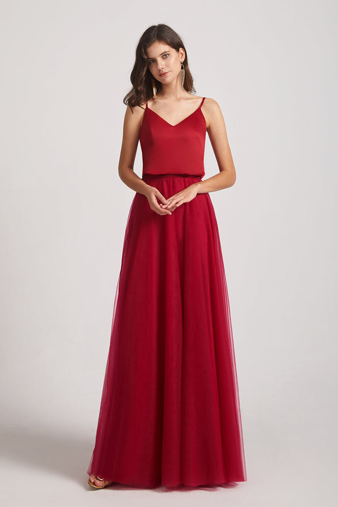 spaghetti straps v-neck bridesmaid dresses