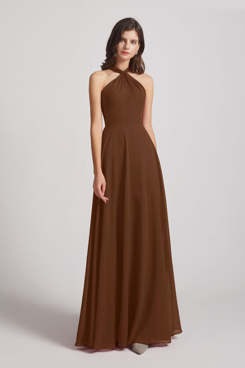 Alfa Bridal Brown Floor Length Chiffon Bridesmaid Dresses with Criss Cross Neckline (AF0113)