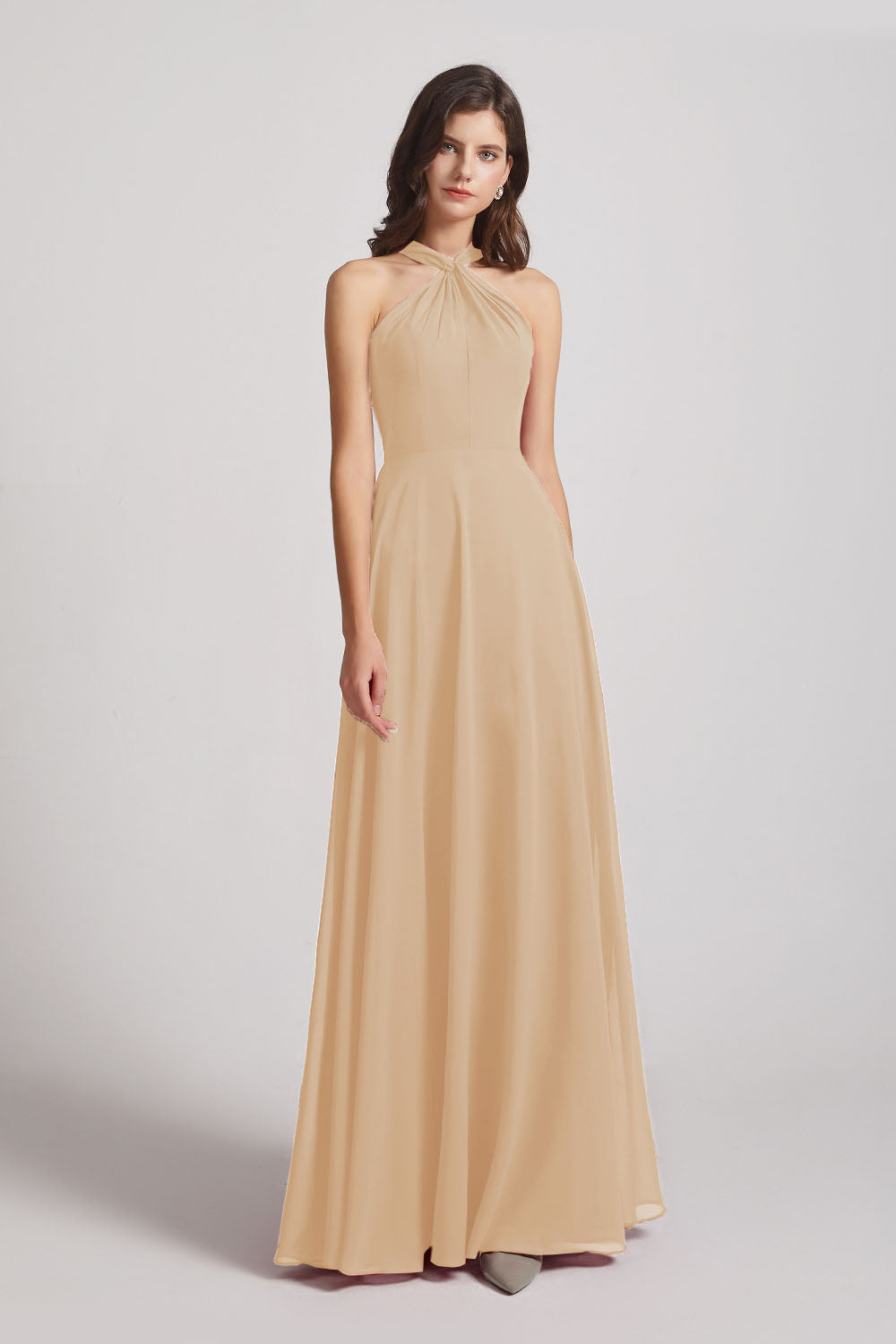 Alfa Bridal Champagne Floor Length Chiffon Bridesmaid Dresses with Criss Cross Neckline (AF0113)