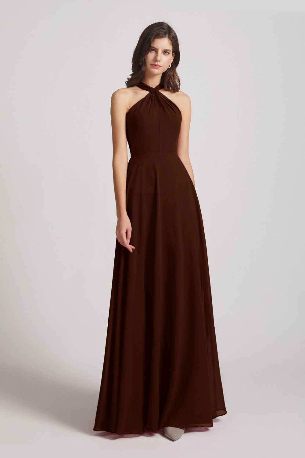 Alfa Bridal Chocolate Floor Length Chiffon Bridesmaid Dresses with Criss Cross Neckline (AF0113)