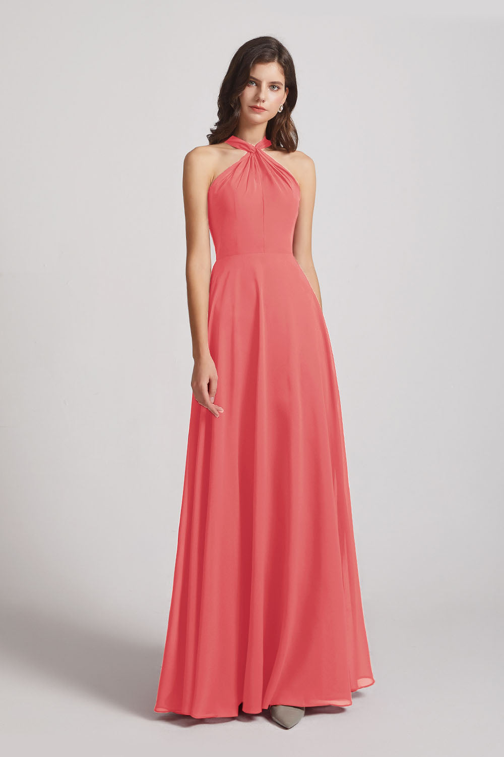 Alfa Bridal Desert Rose Floor Length Chiffon Bridesmaid Dresses with Criss Cross Neckline (AF0113)