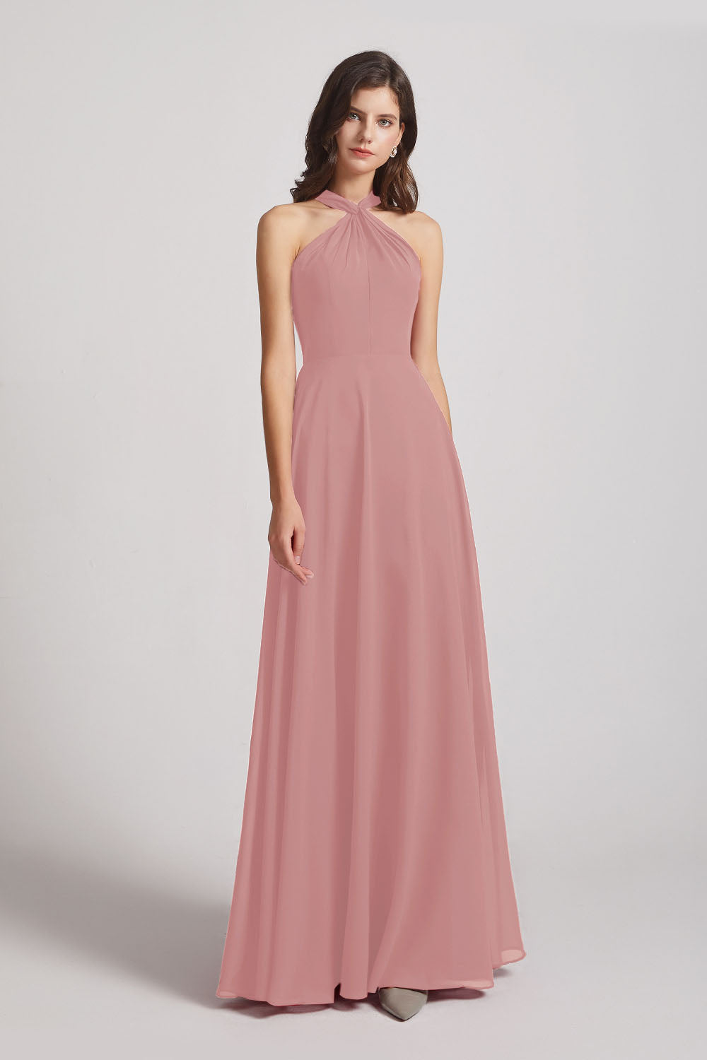Alfa Bridal Dusty Pink Floor Length Chiffon Bridesmaid Dresses with Criss Cross Neckline (AF0113)