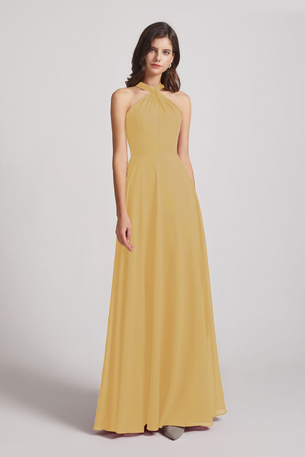 Alfa Bridal Gold Floor Length Chiffon Bridesmaid Dresses with Criss Cross Neckline (AF0113)