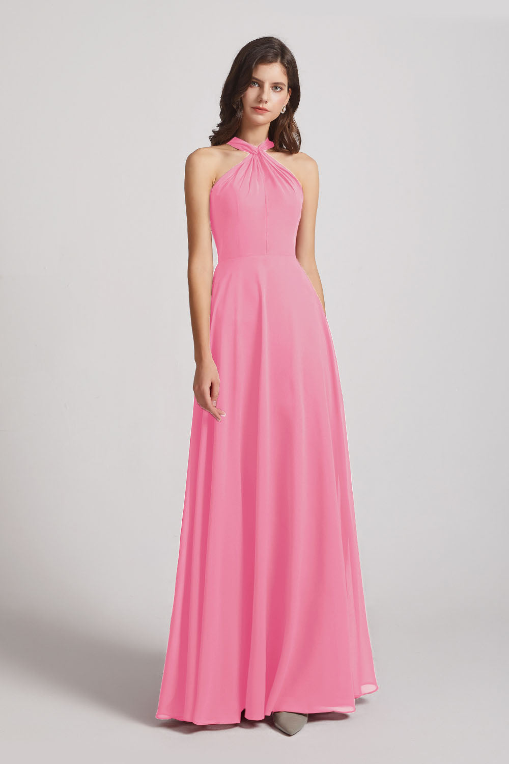 Alfa Bridal Hot Pink Floor Length Chiffon Bridesmaid Dresses with Criss Cross Neckline (AF0113)