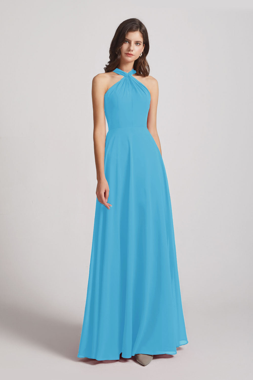 Alfa Bridal Ice Blue Floor Length Chiffon Bridesmaid Dresses with Criss Cross Neckline (AF0113)