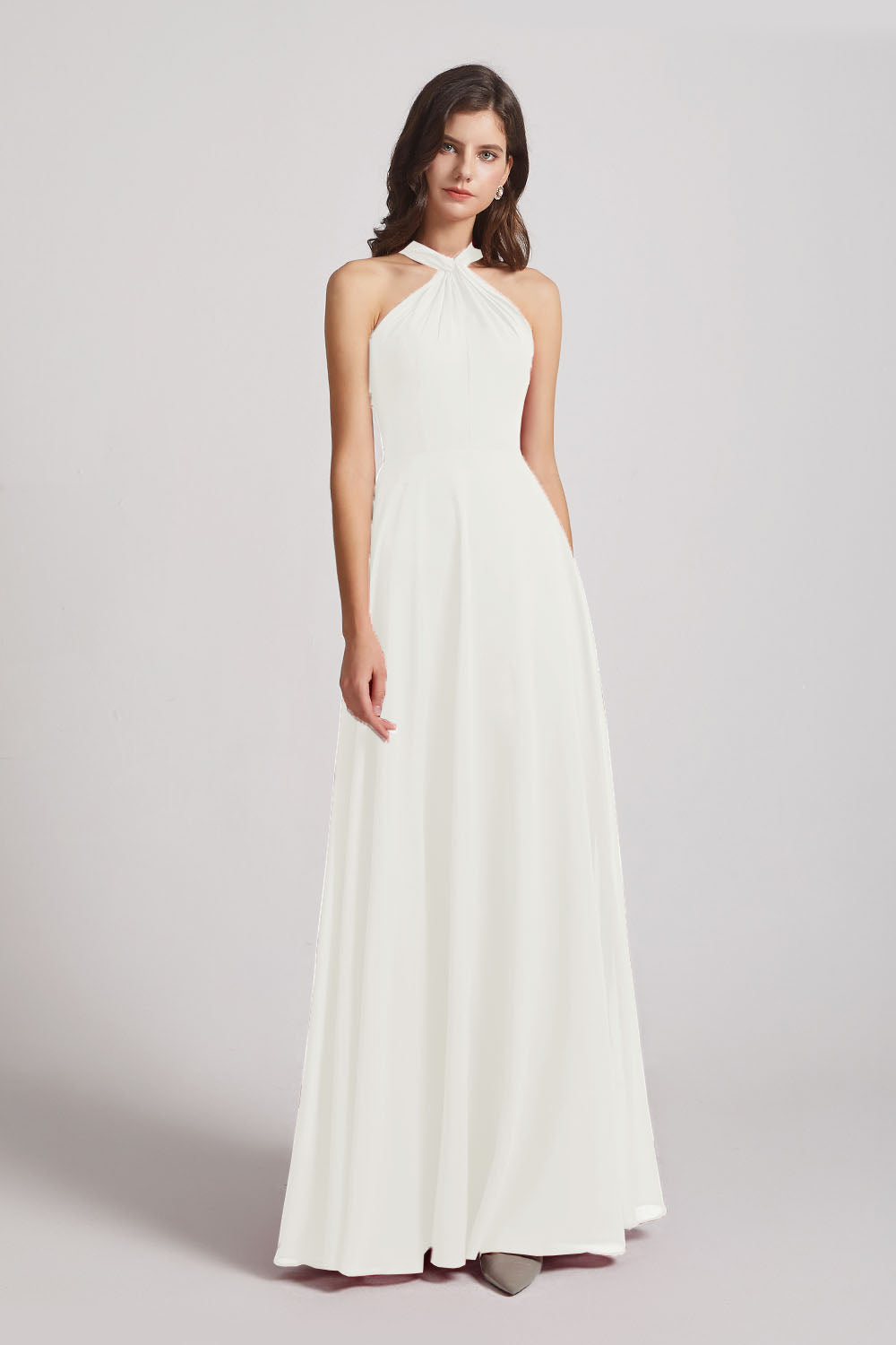 Alfa Bridal Ivory Floor Length Chiffon Bridesmaid Dresses with Criss Cross Neckline (AF0113)