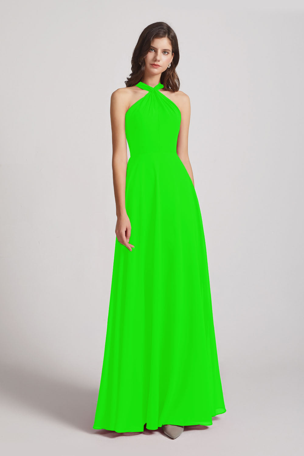 Alfa Bridal Lime Green Floor Length Chiffon Bridesmaid Dresses with Criss Cross Neckline (AF0113)
