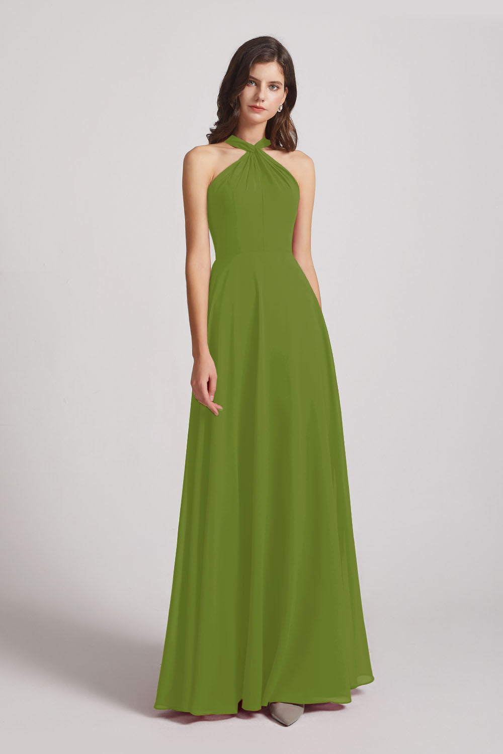 Alfa Bridal Olive Green Floor Length Chiffon Bridesmaid Dresses with Criss Cross Neckline (AF0113)