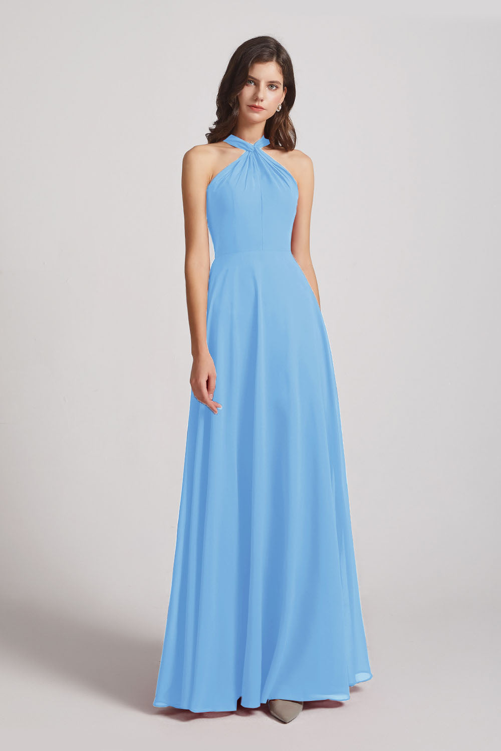 Alfa Bridal Periwinkle Floor Length Chiffon Bridesmaid Dresses with Criss Cross Neckline (AF0113)