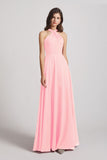Alfa Bridal Pink Floor Length Chiffon Bridesmaid Dresses with Criss Cross Neckline (AF0113)
