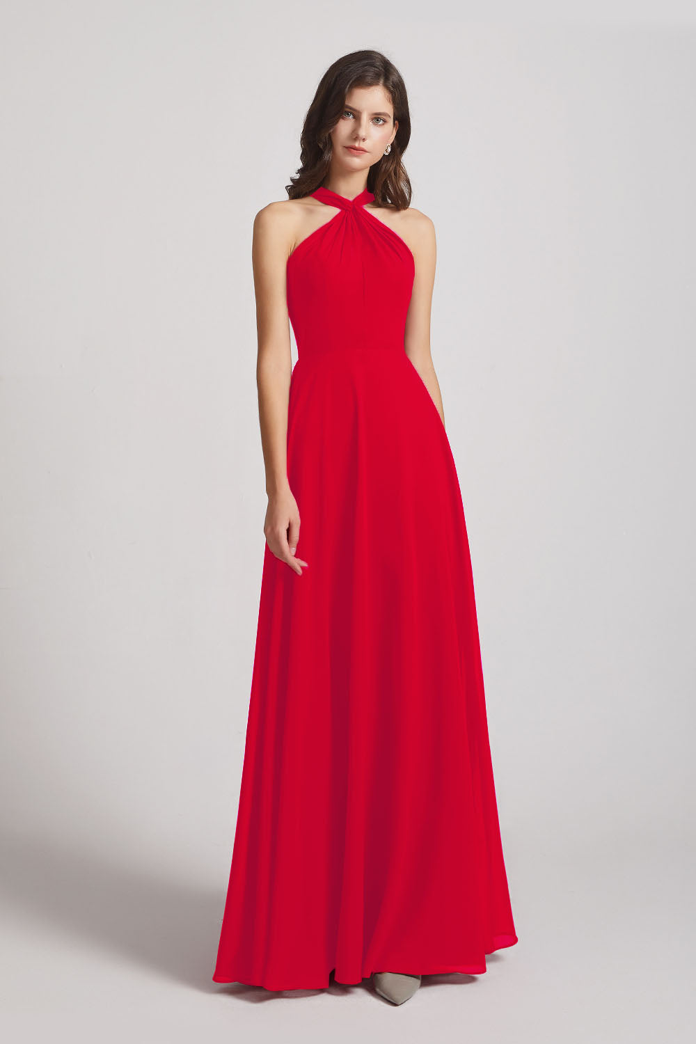 Alfa Bridal Red Floor Length Chiffon Bridesmaid Dresses with Criss Cross Neckline (AF0113)