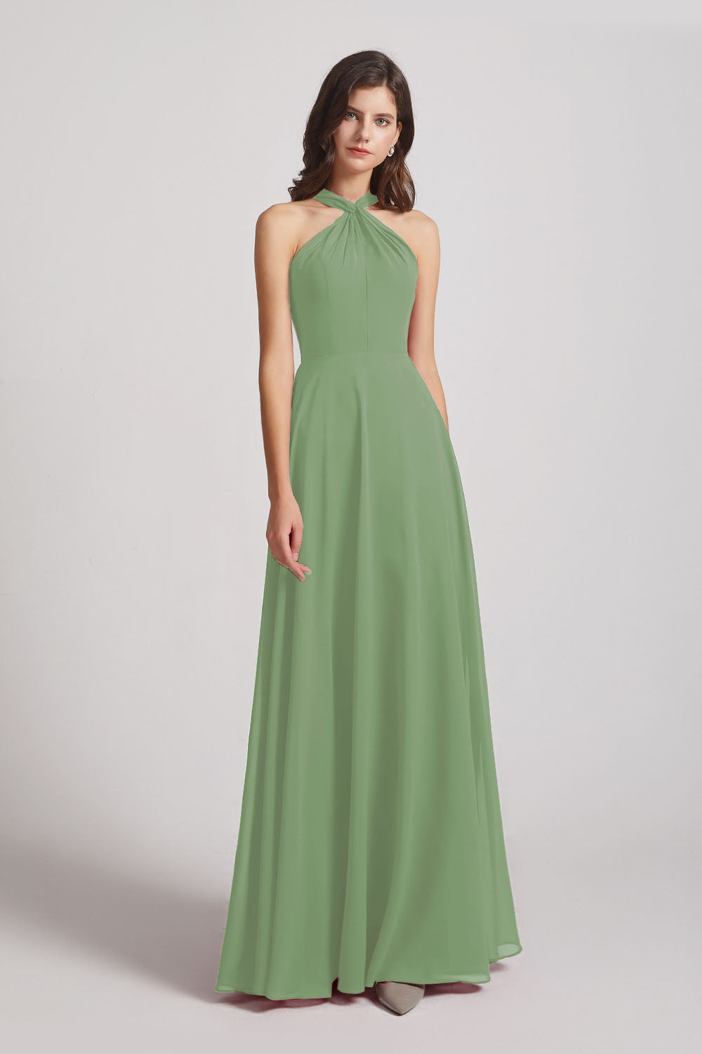 Alfa Bridal Seagrass Floor Length Chiffon Bridesmaid Dresses with Criss Cross Neckline (AF0113)