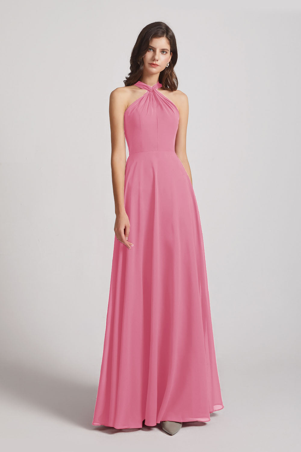 Alfa Bridal Skin Pink Floor Length Chiffon Bridesmaid Dresses with Criss Cross Neckline (AF0113)