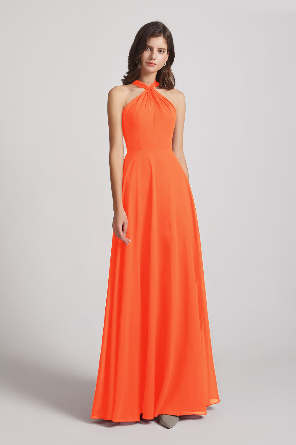 Alfa Bridal Tangerine Tango Floor Length Chiffon Bridesmaid Dresses with Criss Cross Neckline (AF0113)