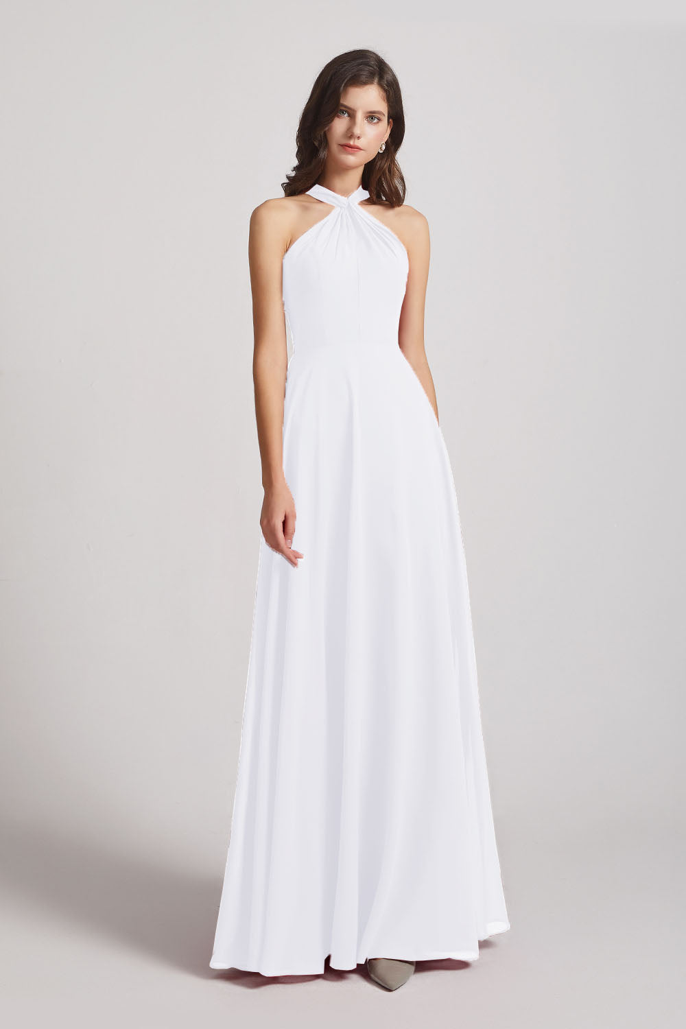 Alfa Bridal White Floor Length Chiffon Bridesmaid Dresses with Criss Cross Neckline (AF0113)
