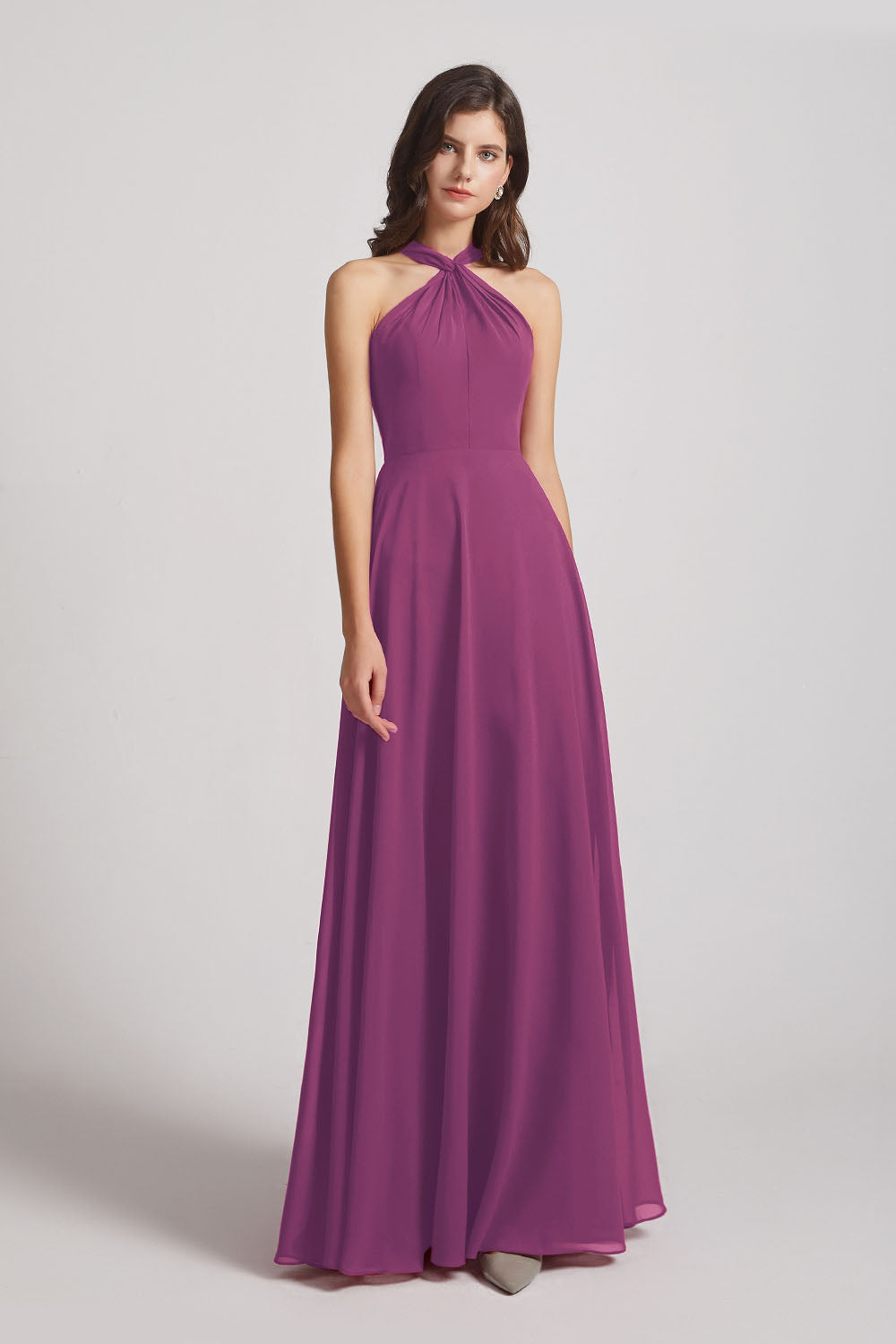 Alfa Bridal Wild Berry Floor Length Chiffon Bridesmaid Dresses with Criss Cross Neckline (AF0113)
