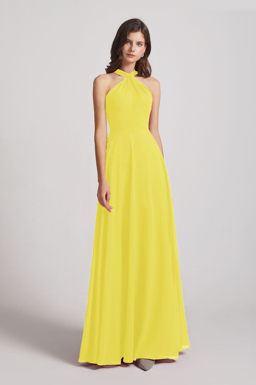 Alfa Bridal Yellow Floor Length Chiffon Bridesmaid Dresses with Criss Cross Neckline (AF0113)