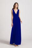 Bold Velvet Bridesmaid Dress With Daring Deep V Neck (AF0133)