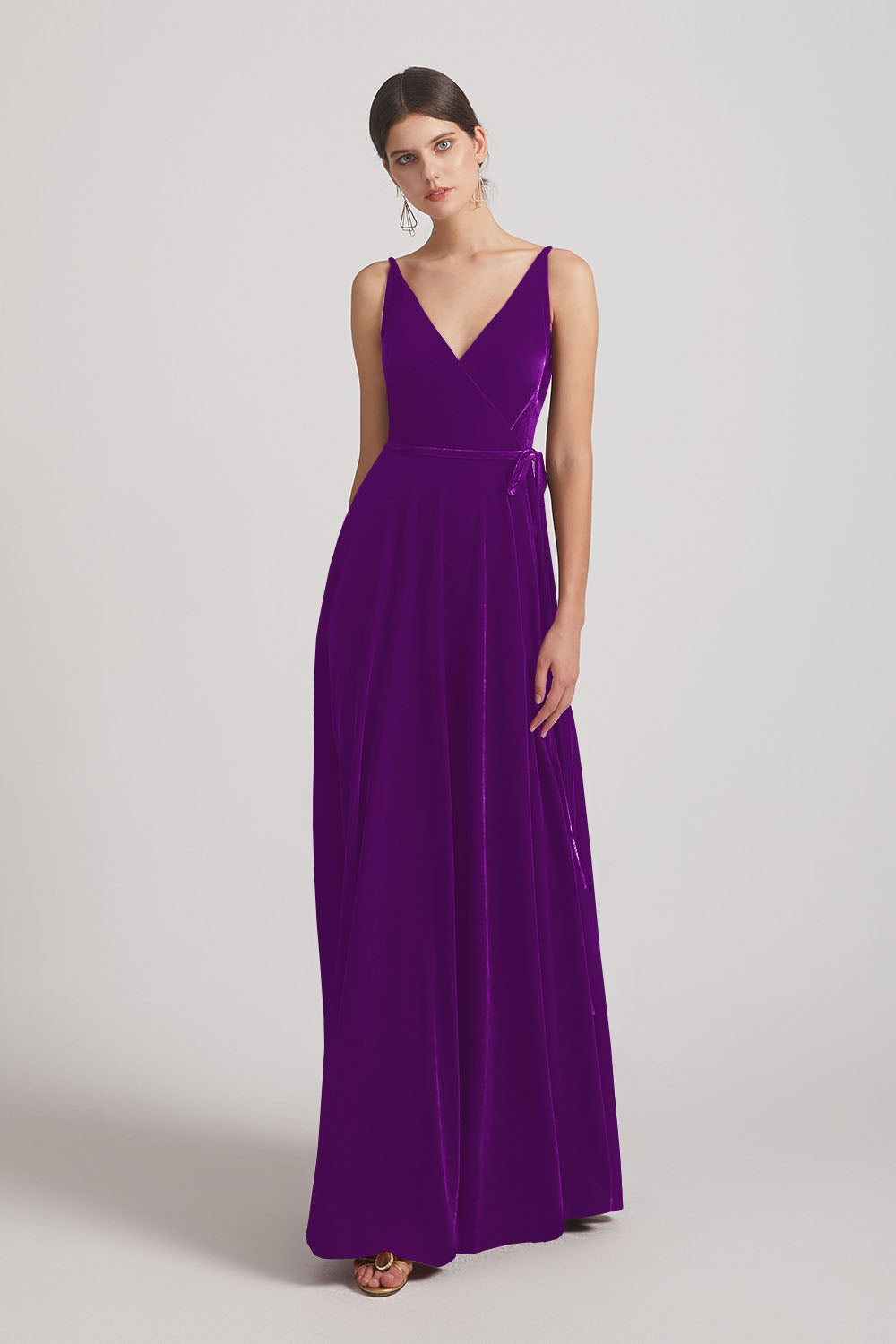 Spaghetti Straps Velvet Faux Wrap Bridesmaid Dresses With Waist Tie (AF0149)