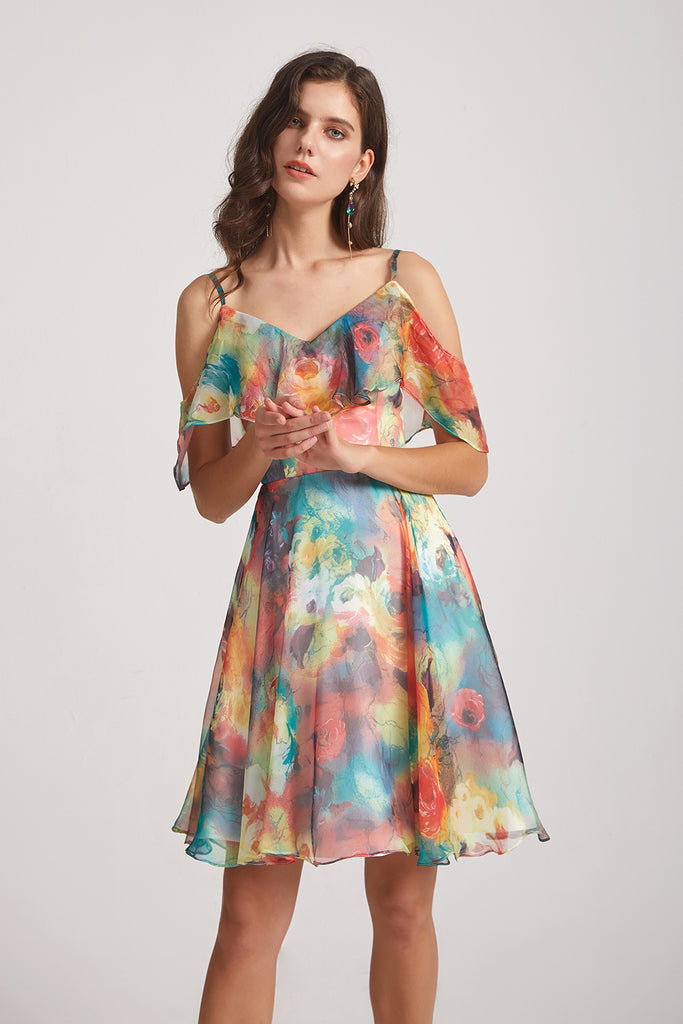 V-neck Floral-Print Bridesmaids Dresses