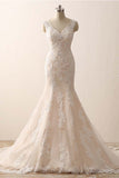 Sleeveless V-neck Mermaid Lace Wedding Dresses with Sweep Train