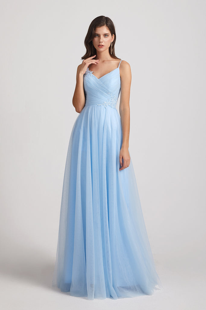 Cloud Blue Tulle Bridesmaid Dresses