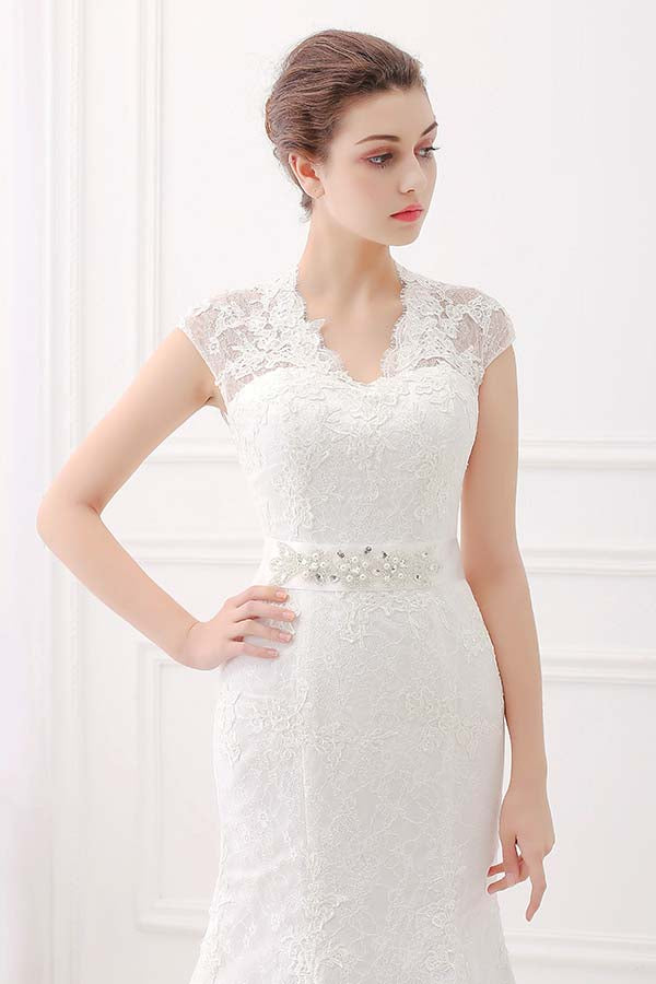 V-neck cap sleeves wedding gowns