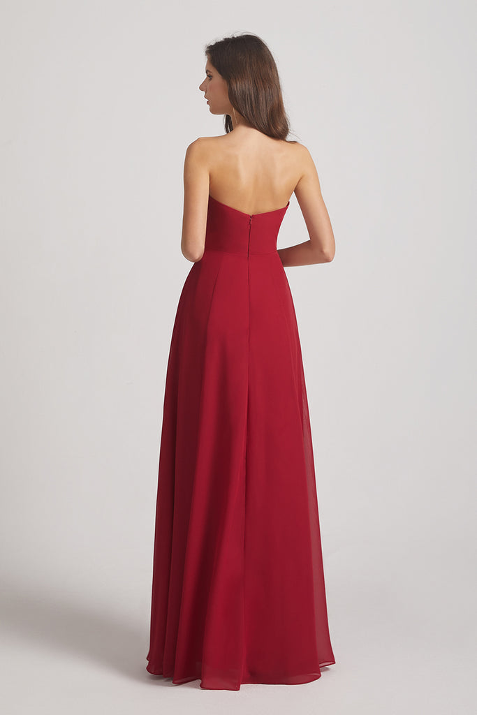 a-line open back chiffon bridesmaid gown
