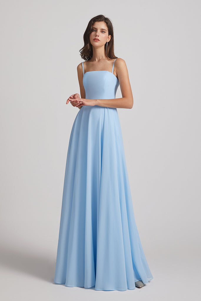 a-line chiffon spaghetti straps bridesmaid dress