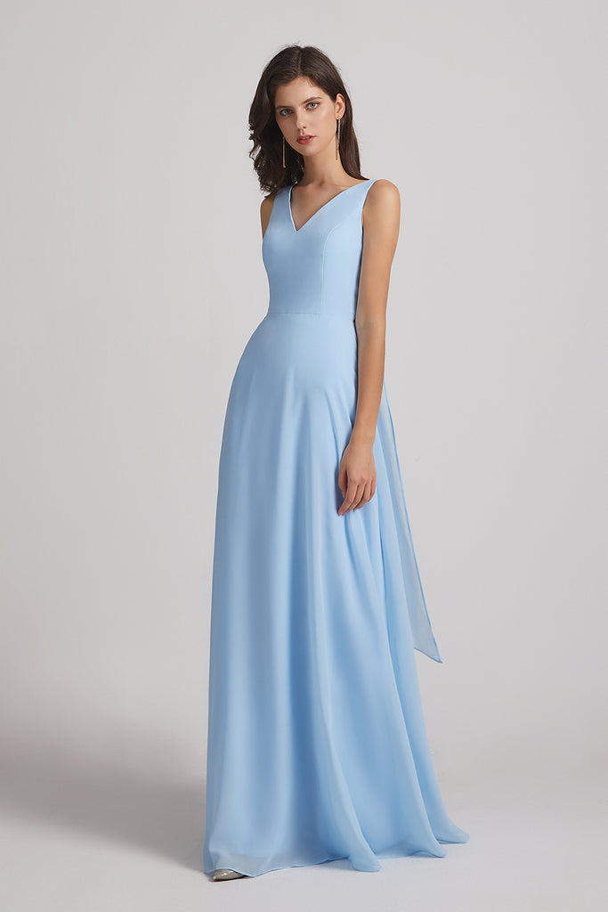 a-line straps chiffon bridesmaid dress