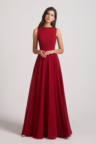 a-line sleeveless bridesmaid gown