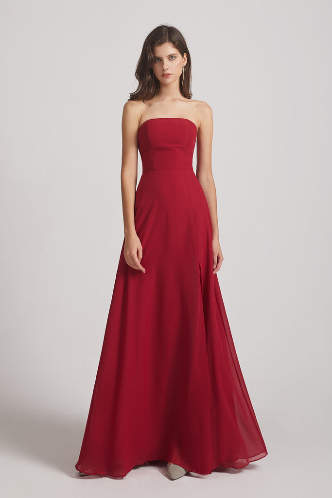 a-line split maxi bridesmaids gowns