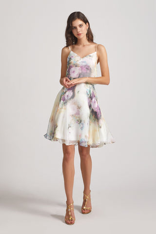 floral a-line spaghetti straps bridesmaid dress