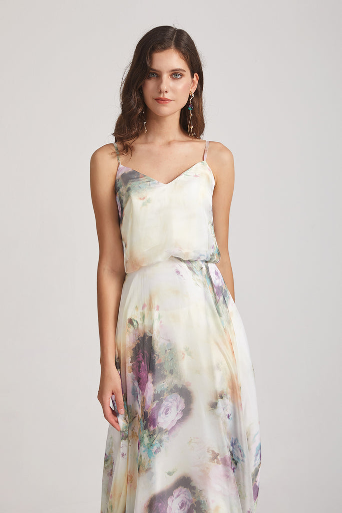 cheap mismatched floral bridesmaid dress