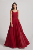 Spaghetti Straps Chiffon A-Line Long Bridesmaid Dresses (AF0110)