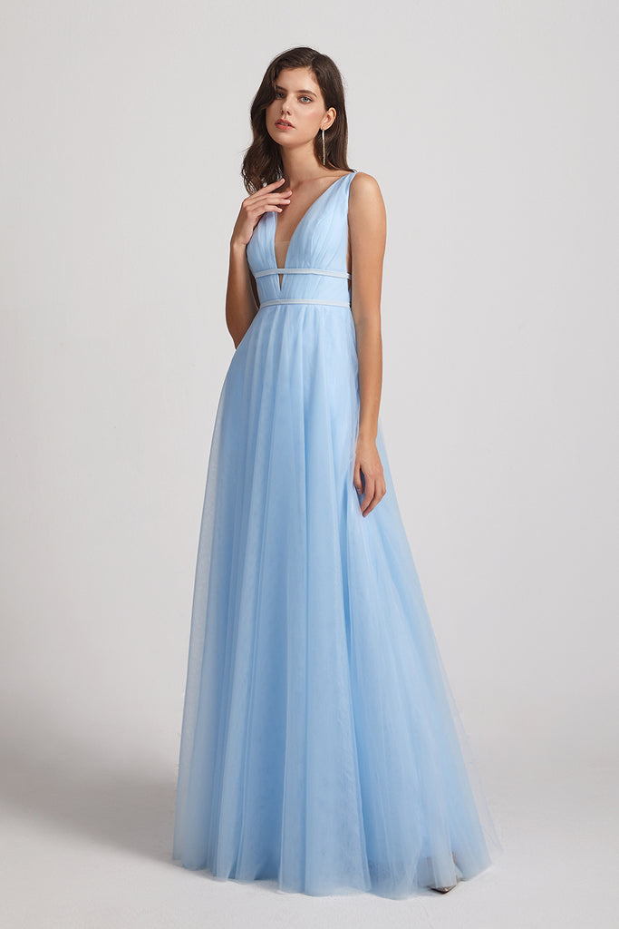 plunging v-neck long bridesmaid dress