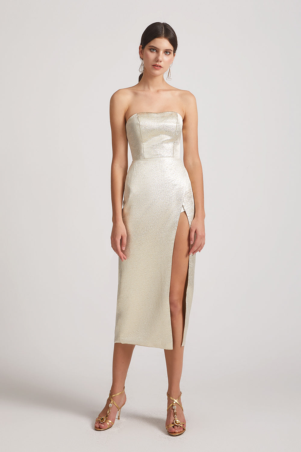 sexy metallic slit bridesmaids dresses