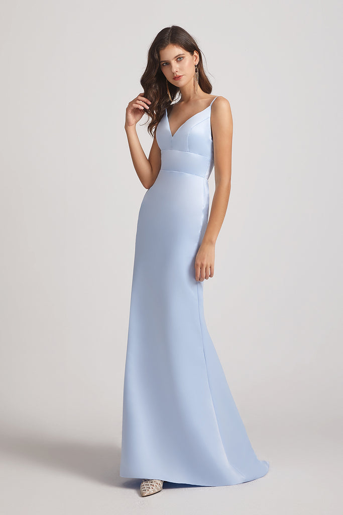blue sleeveless satin bridesmaids dresses