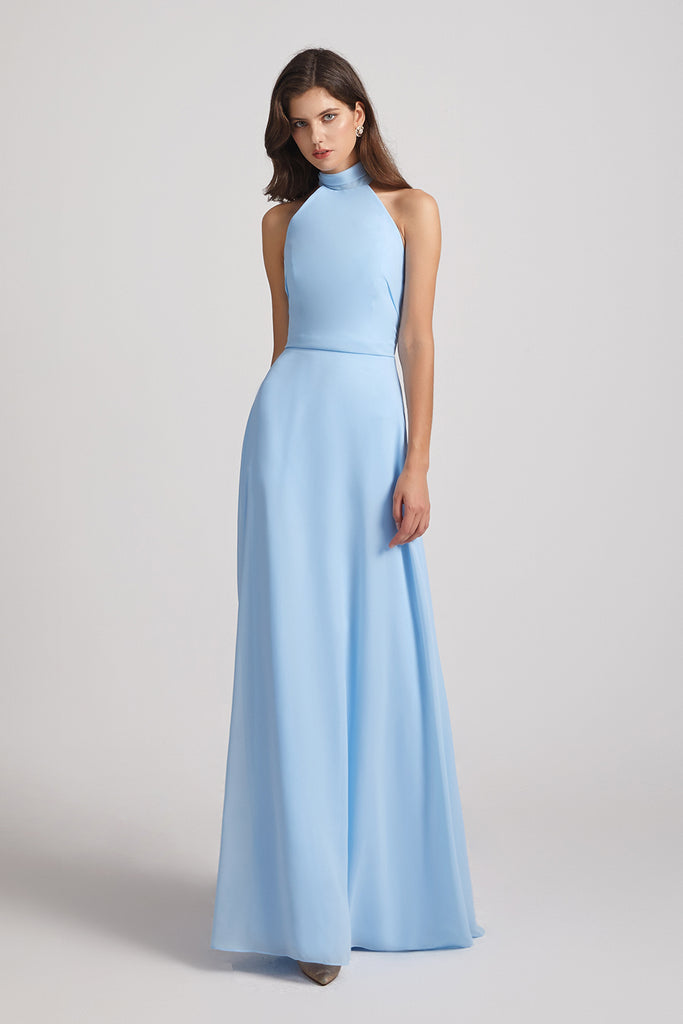 light blue chiffon sleek floor length dresses