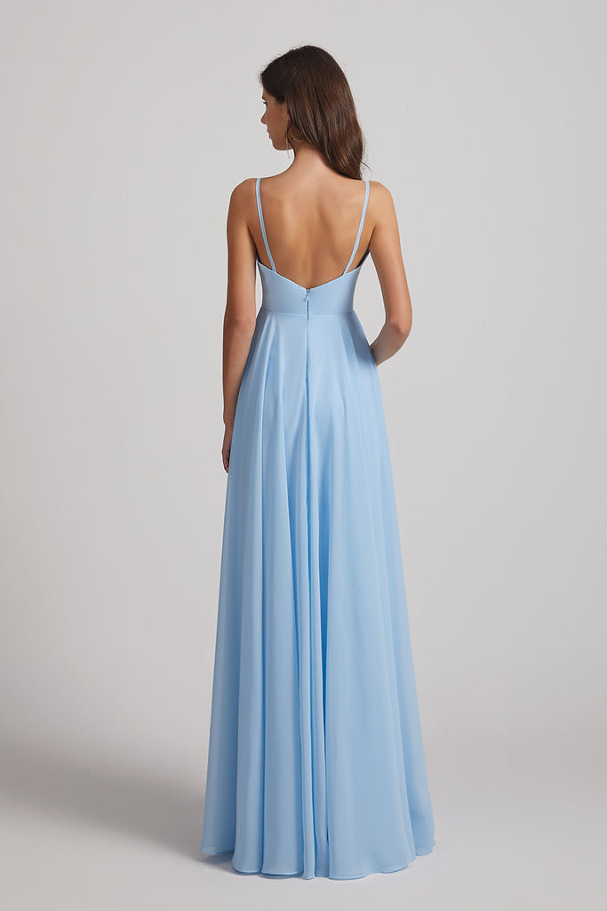 backless a-line bridesmaid gown