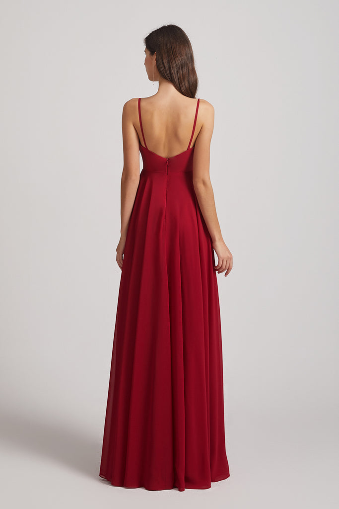 back zipper-up chiffon bridesmaids dresses