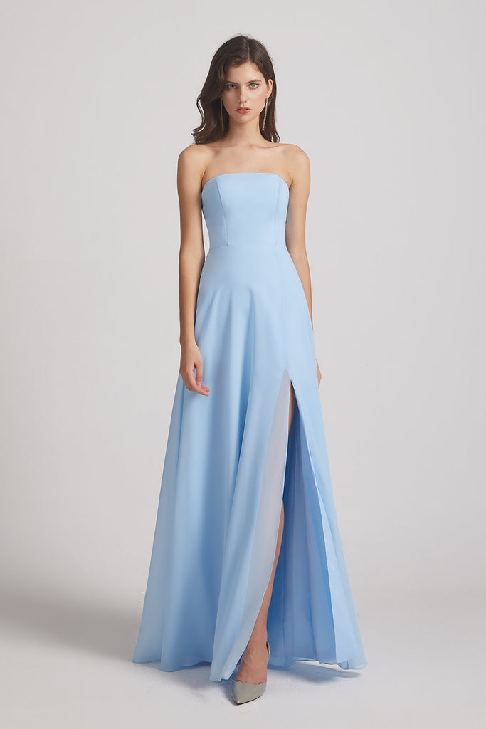 blue long chiffon maids of honor dress