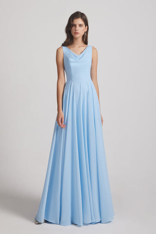 sky blue sleeveless ruched chiffon gowns